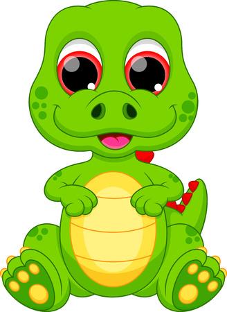 triceratops: Cute baby dinosaur cartoon Illustration