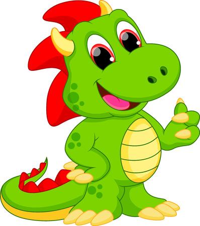 dinosauro: Drago divertente cartone animato Vettoriali