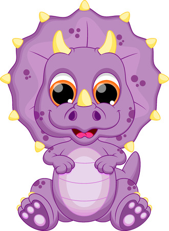 the red dragon: Cute baby dinosaur cartoon Illustration