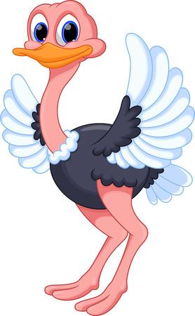 vogelspuren: Lustige Comic-Strauß Illustration