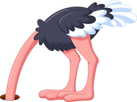 Ostrich hiding its head cartoon