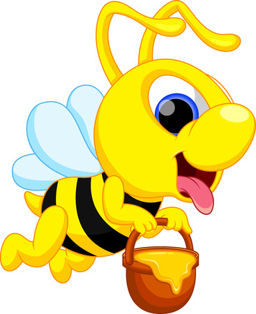 Cute bee with honey basket