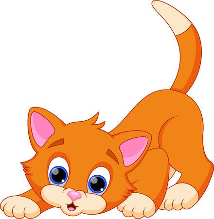 kitten: Funny cat cartoon Illustration