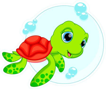 tortuga caricatura: De dibujos animados lindo de la tortuga