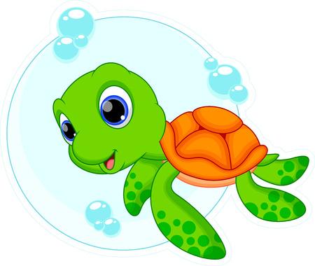 aquatic reptile: Cute turtle cartoon