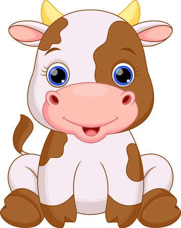 laticínio: Bonito vaca dos desenhos animados do beb Ilustra��o