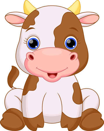 cow illustration: Cute baby cow cartoon