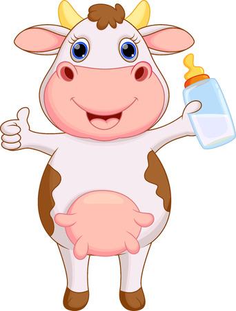 Simpatico cartone animato della mucca Vettoriali