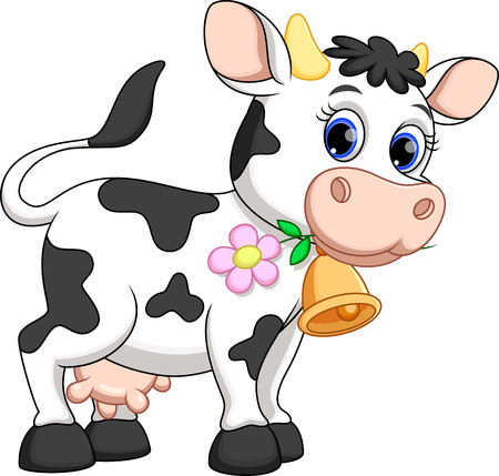 black and white farm: Cute cow cartoon Illustration