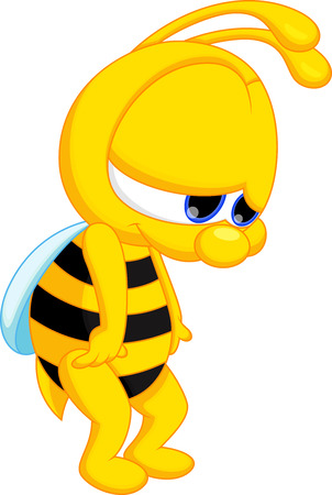 Cute cartoon bee is sad  向量圖像