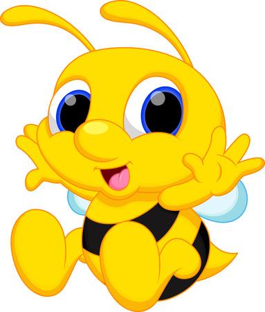 귀여운 아기 꿀벌 만화