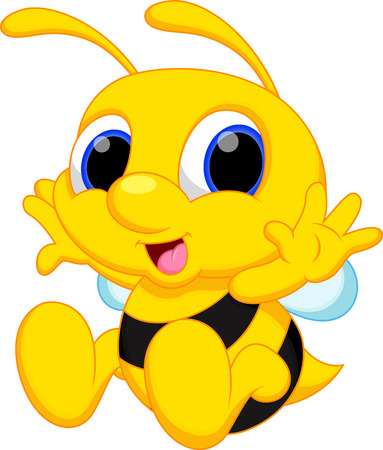 Cute baby bee cartoon Vector