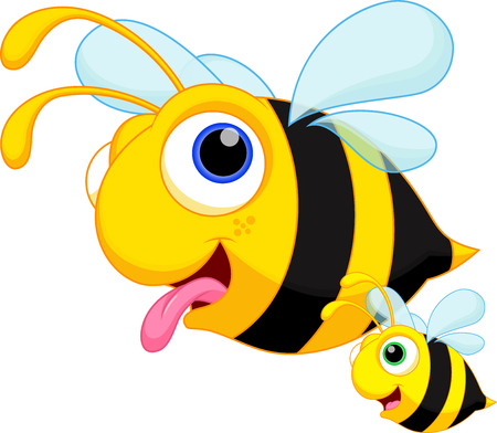 abeja caricatura: Abejas divertidas vuelan con sus hijos