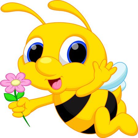 귀여운 꿀벌 만화 비행 꽃을 수행하는 동안 일러스트