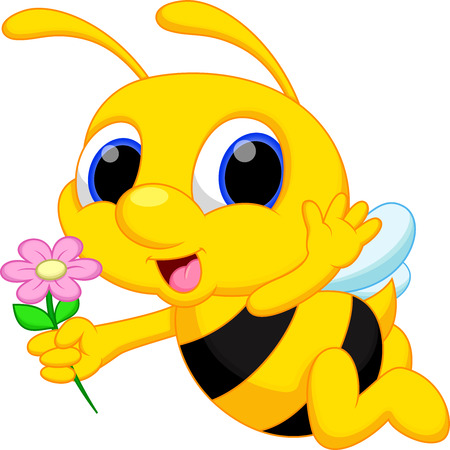Cute bee cartoon flying while carrying flowers  Ilustrace