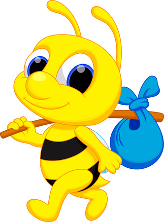 a cute bee cartoon go wander  Vector