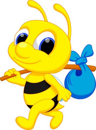 eine niedliche Biene Cartoon gehen wandern Vektorgrafik