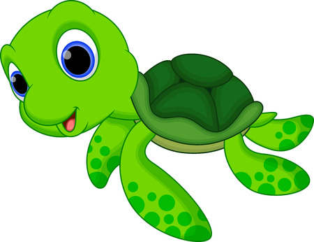sea green: Cute baby turtle cartoon