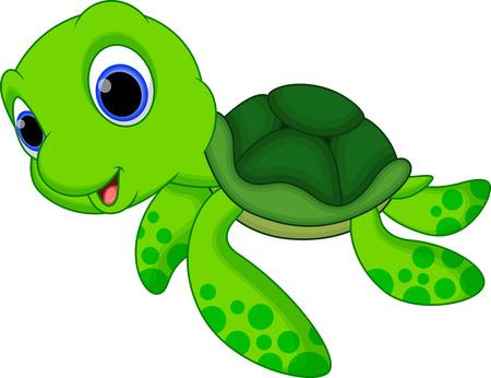 diversion: Lindo bebé de dibujos animados tortuga Vectores