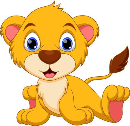 Bébé lion mignon de bande dessinée
