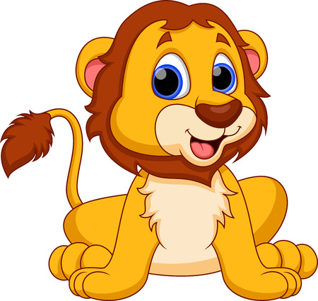 Cute lion cartoon Vector