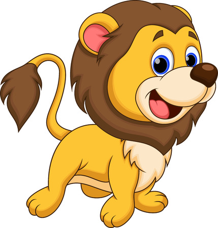 kitten cartoon: Cute lion cartoon Illustration