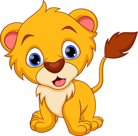 Bébé lion mignon de bande dessinée Vecteurs