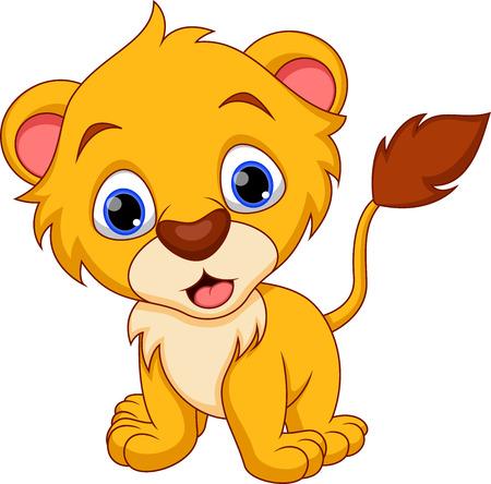 Caricatura lindo bebé león Ilustración de vector