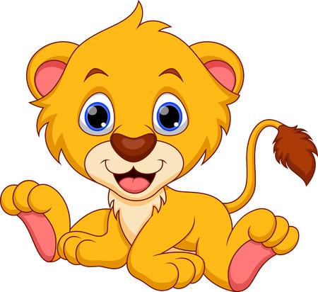 young animal: Cute baby lion cartoon