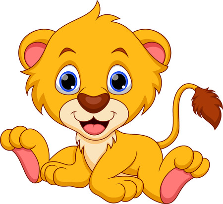 animal eye: Leone carino cartone animato del bambino Vettoriali