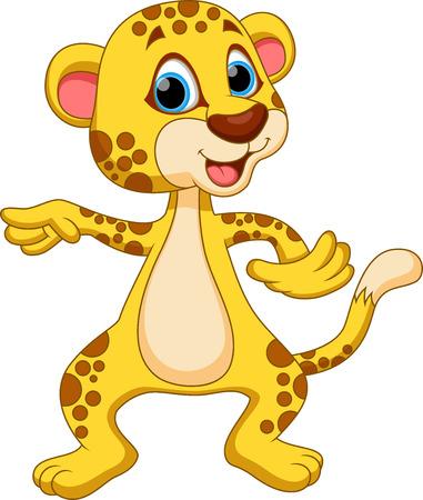 Cute cheetah cartoon dancing Illustration
