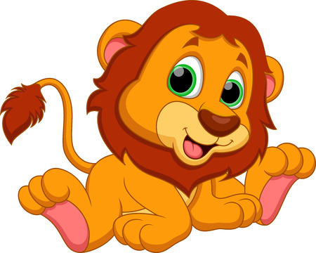cub: Cute baby lion cartoon  Illustration
