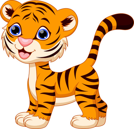 Cute female tiger cartoon Vector