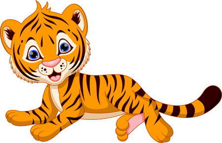 baby playing toy: Cute baby tiger cartoon
