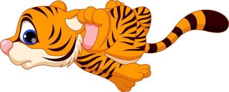 tiger cub: Cute baby tiger cartoon running