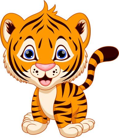 tigre caricatura: Lindo bebé tigre de la historieta