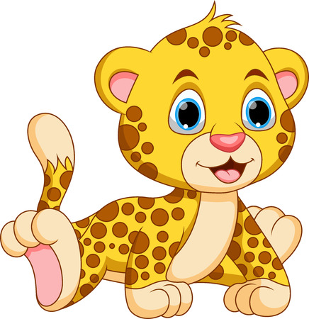 Cute baby cheetah cartoon Vector