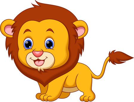 Caricatura lindo bebé león