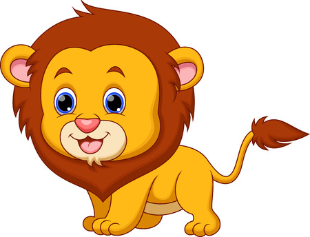 whisker: Cute baby lion cartoon  Illustration
