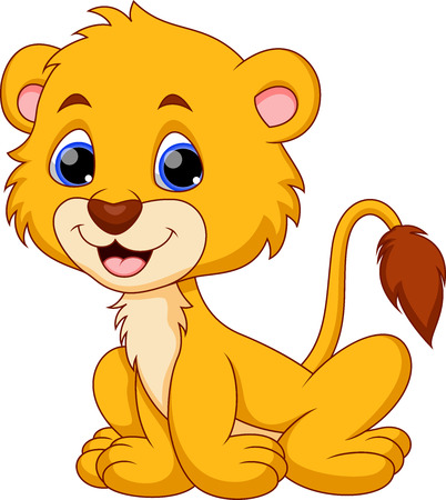 Cute baby lion cartoon  Vettoriali