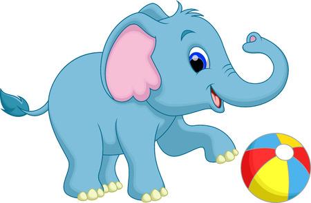 Cute elephant cartoon play ball Illustration