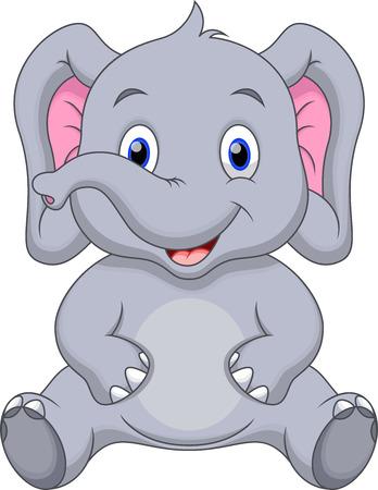 Dibujos animados lindo elefante Ilustración de vector