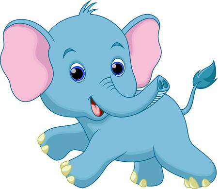 Cute elephant cartoon running Vectores