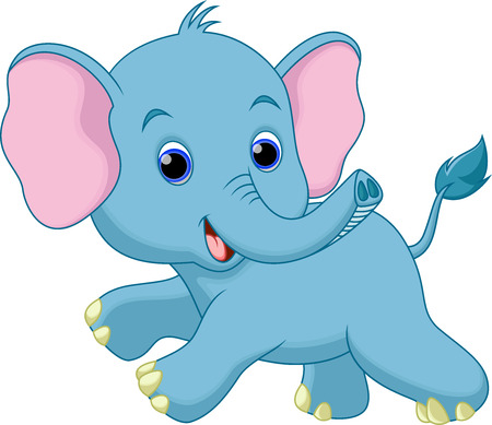 Cute elephant cartoon running Vector