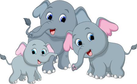 Cute elephant family cartoon