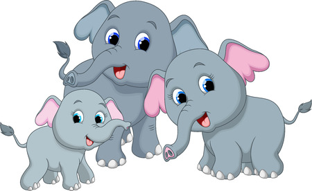 Cute elephant family cartoon