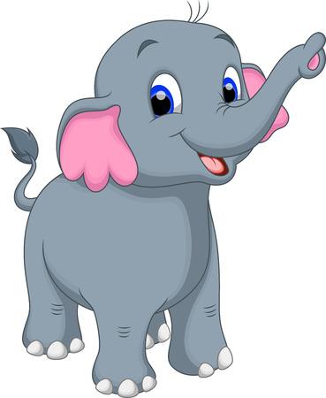 elephant cartoon: Carino elefante cartoon Vettoriali