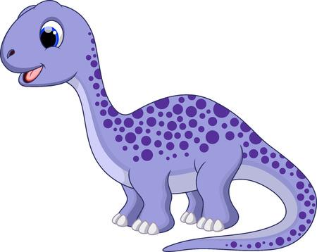 Cute brontosaurus cartoon  Illustration