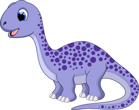 Cute brontosaurus cartoon  向量圖像