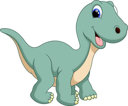 dinosaurio caricatura: Lindo dinosaurio diplodocus de dibujos animados
